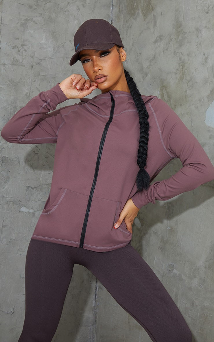 Brown Zip Through Hooded Gym Top 1