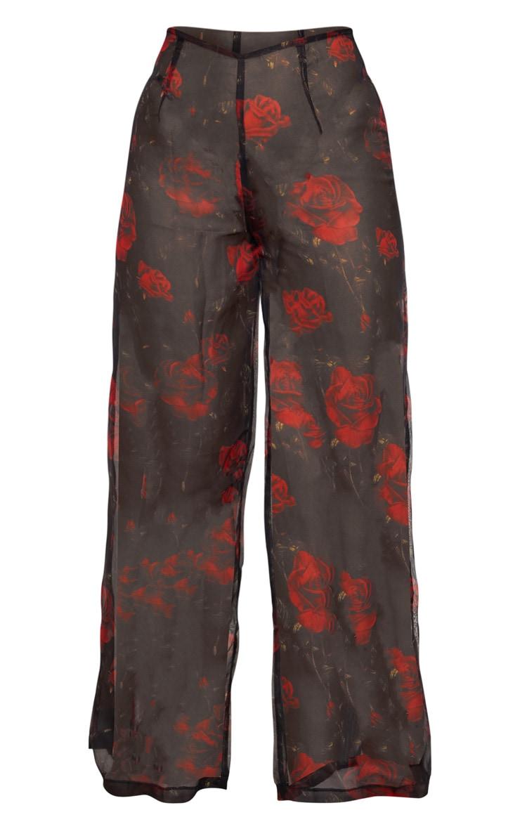 Black Rose Print Wide Leg Beach Pants 3