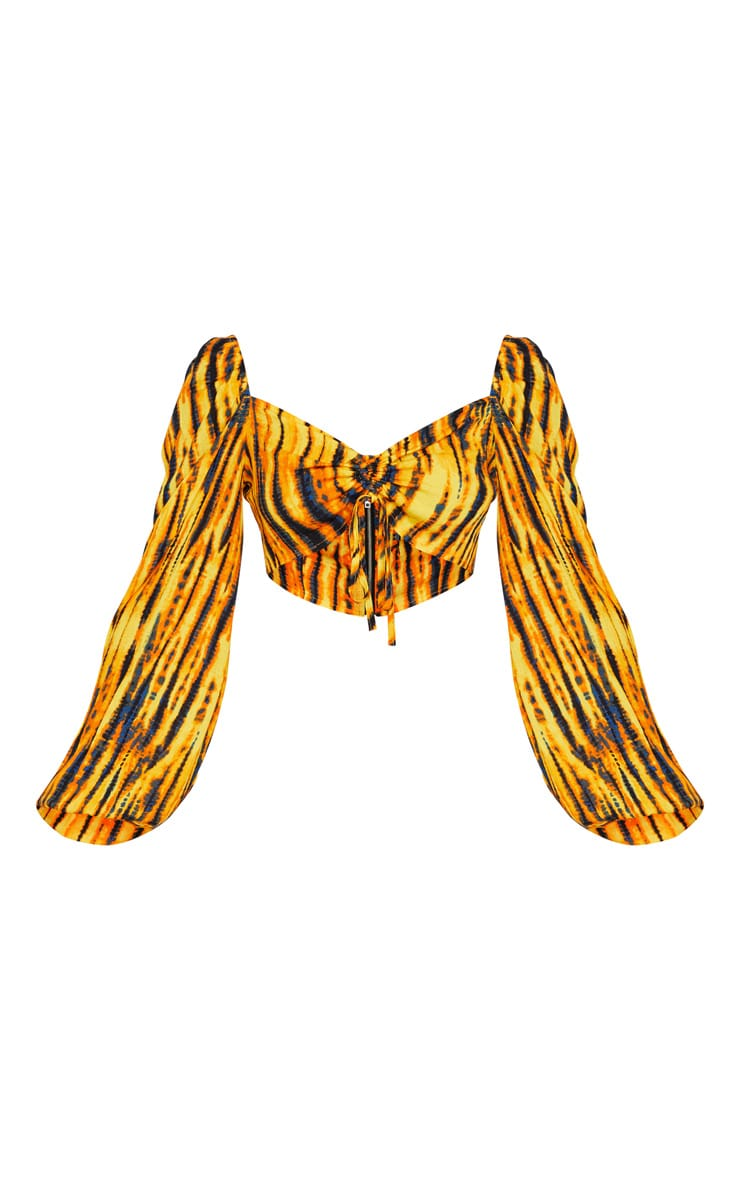 Mustard Tie Dye Woven Ruched Tie Front Puff Sleeve Crop Top 4