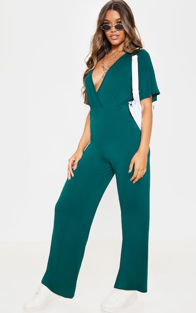 Emerald Green Wrap Front Short Sleeve Jumpsuit