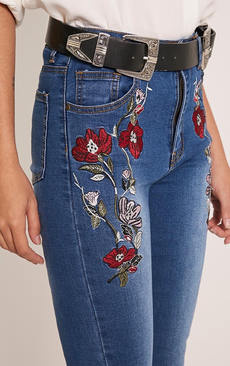Alesha Dark Wash Embroidered High Waisted Skinny Jeans 6