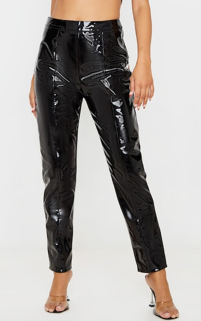 Black Vinyl High Waist Skinny Trousers