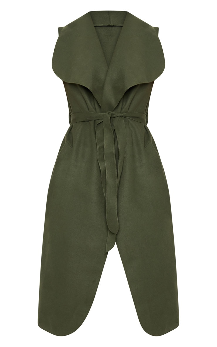 Valerie Khaki Sleeveless Waterfall Coat  3