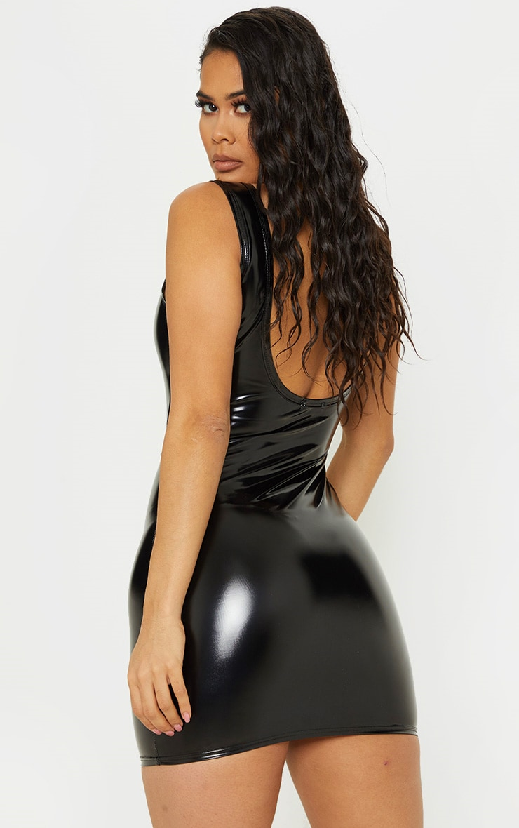 Black Vinyl Belted Zip Bodycon Dress 2