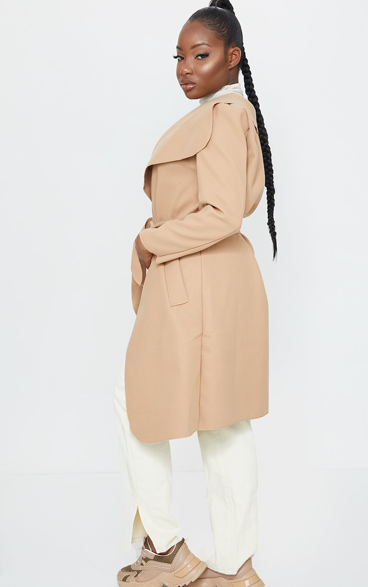 Petite Camel Oversized Waterfall Belt Coat 2