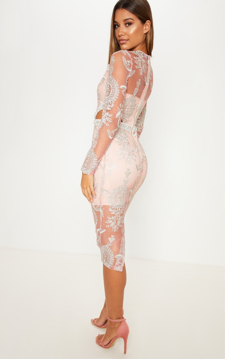 Dusty Pink Embroidered Lace Embellishment Detail Cut Out Midi Dress 2