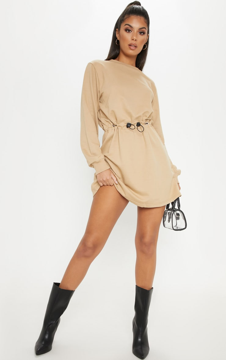 Sand Toggle Front Sweat Jumper Dress 4