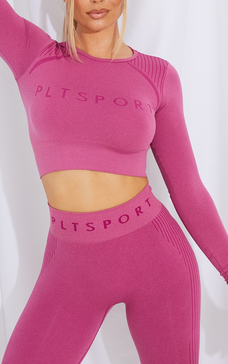 PRETTYLITTLETHING Dark Pink Contrast Seamless Long Sleeve Cropped Gym Top 4
