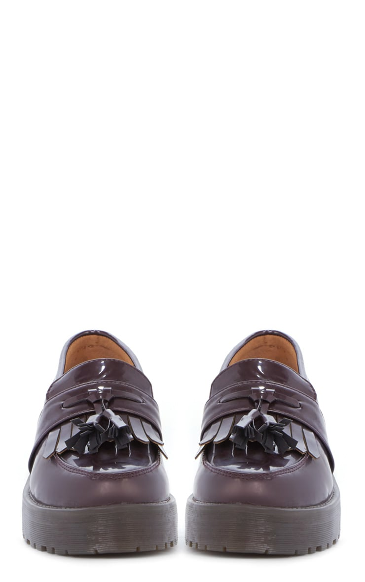 Charis Patent Burgundy Chunky Loafer 3