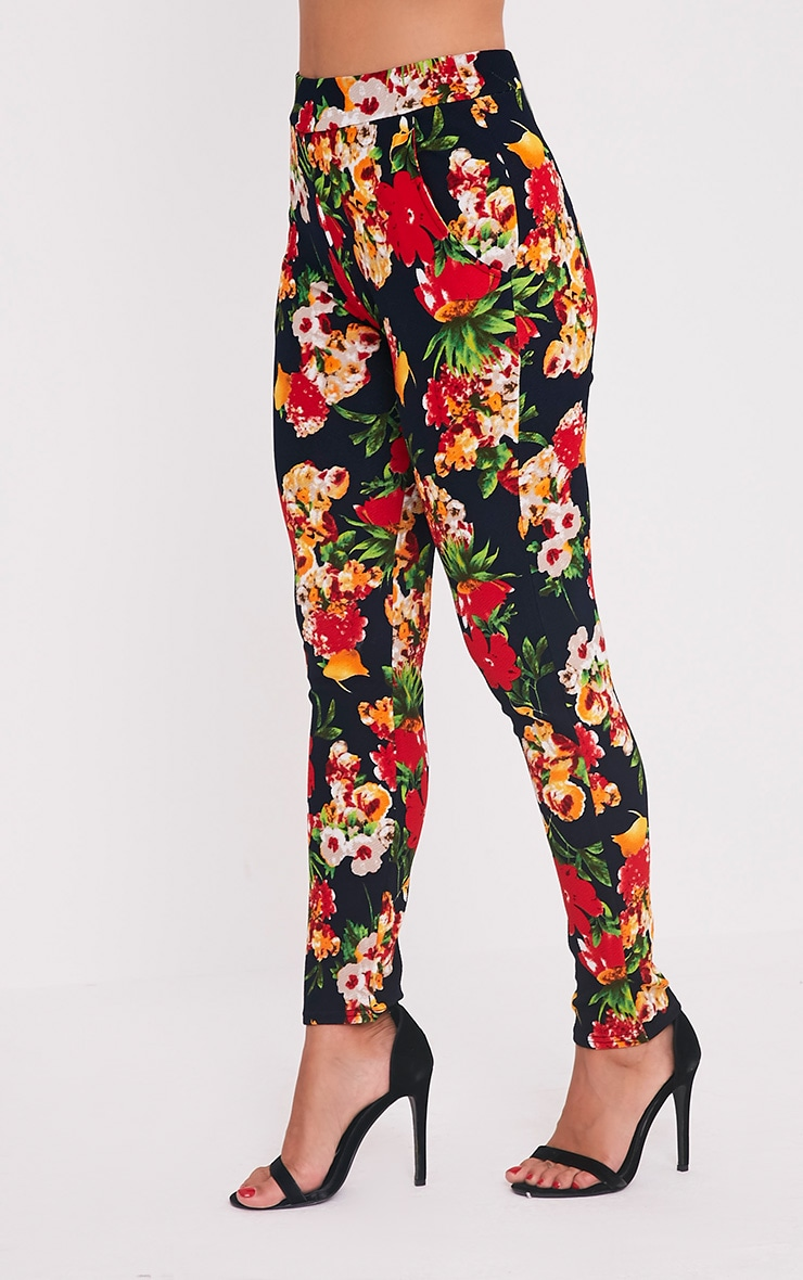 Karolina Red Floral Crepe Cigarette Trousers 4