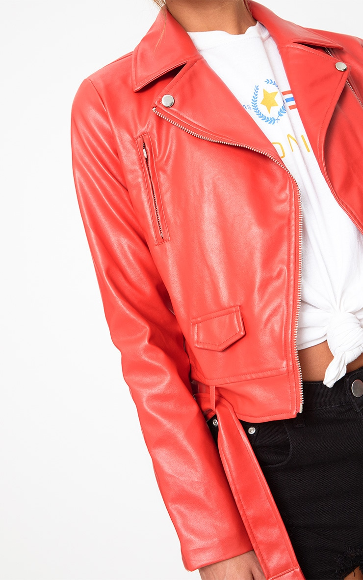 Red PU Biker Jacket 4