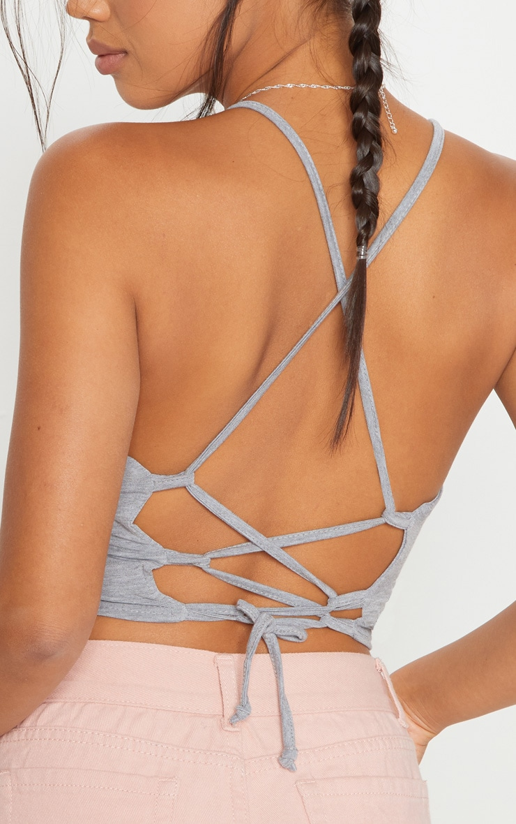 Grey Strappy Back Crop Top 5