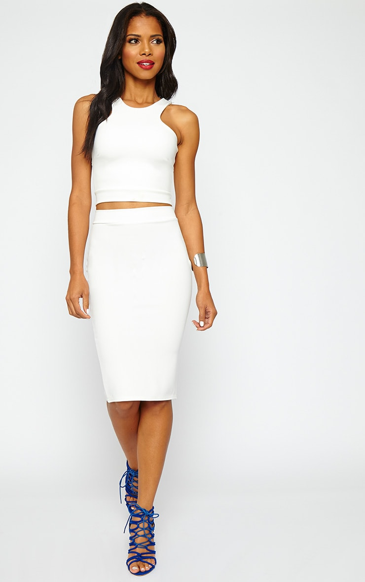 Janine Cream Midi Skirt 1