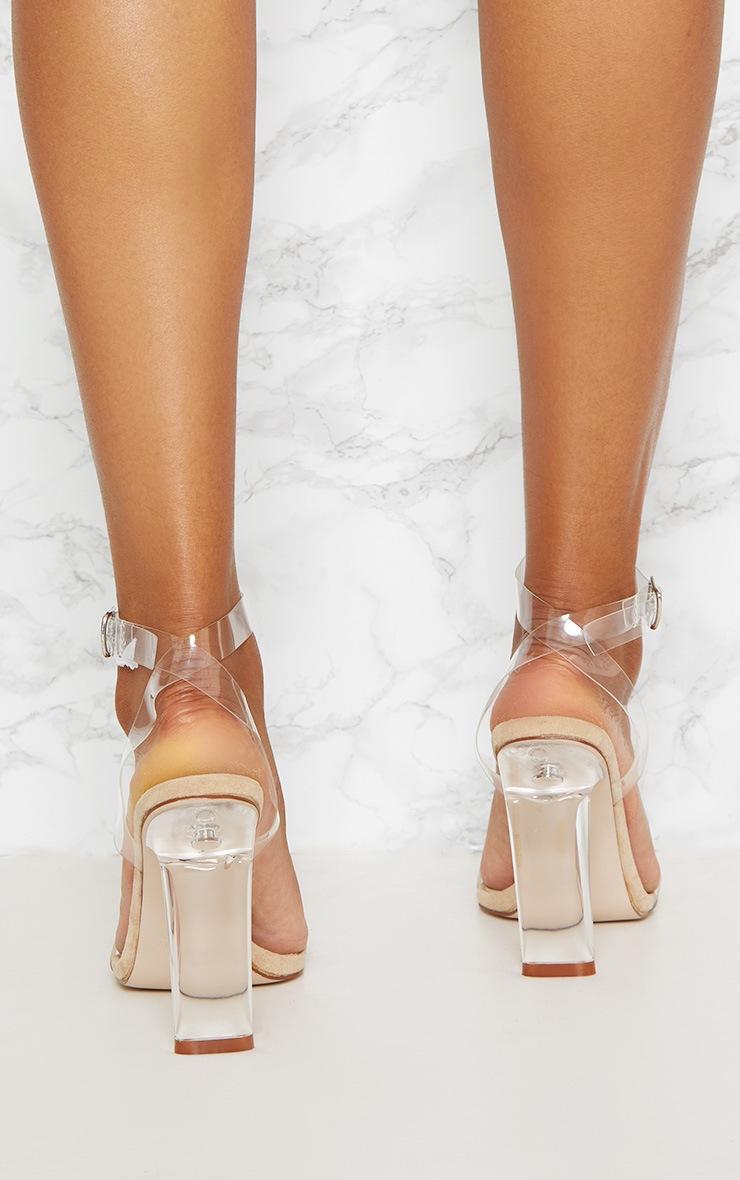 Beige Clear Flat Heel Strappy Sandal 3