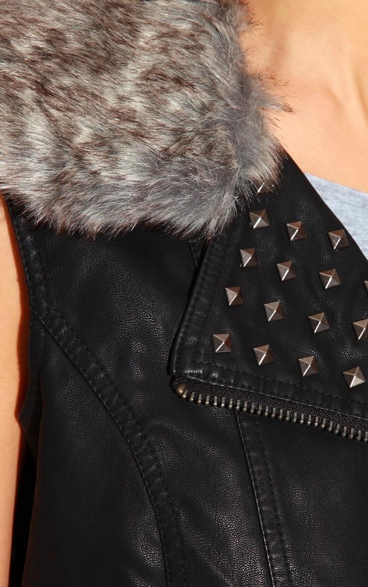 Jeni Sleeveless Leather Stud Jacket With Fur Collar 5