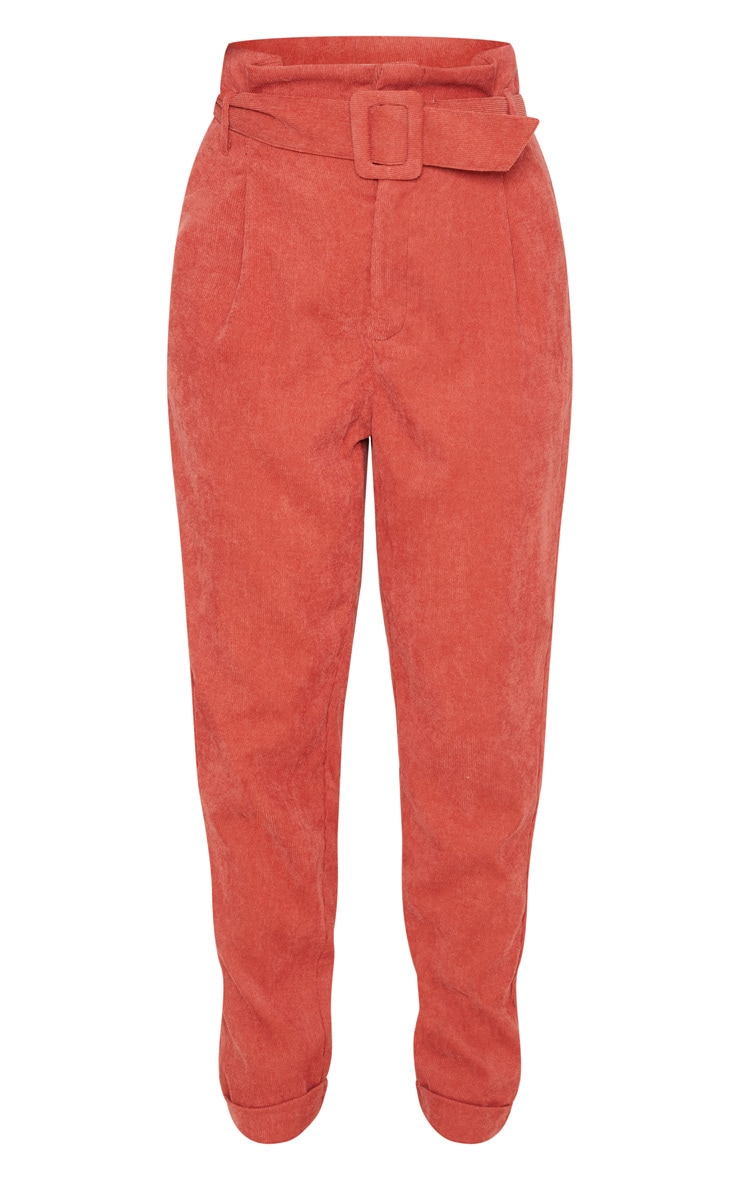Petite Rust Cord Paper Bag Belted Trouser 3