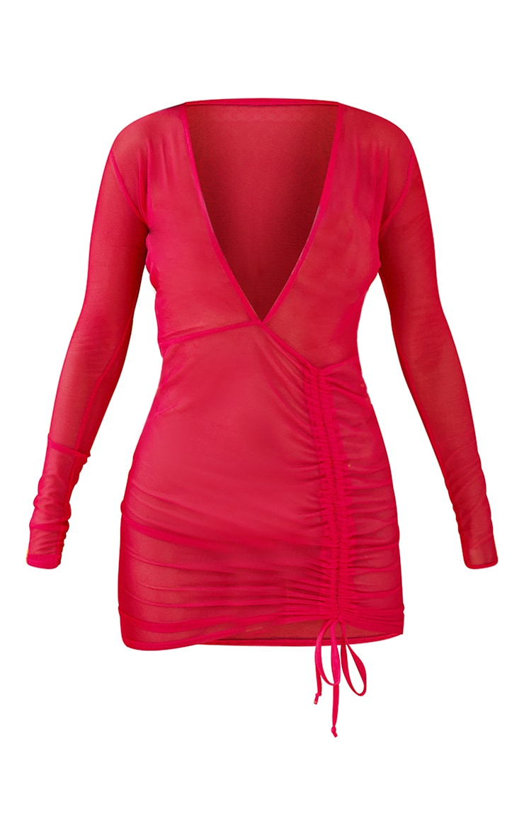 Hot Pink Mesh Ruched Plunge Beach Dress 6