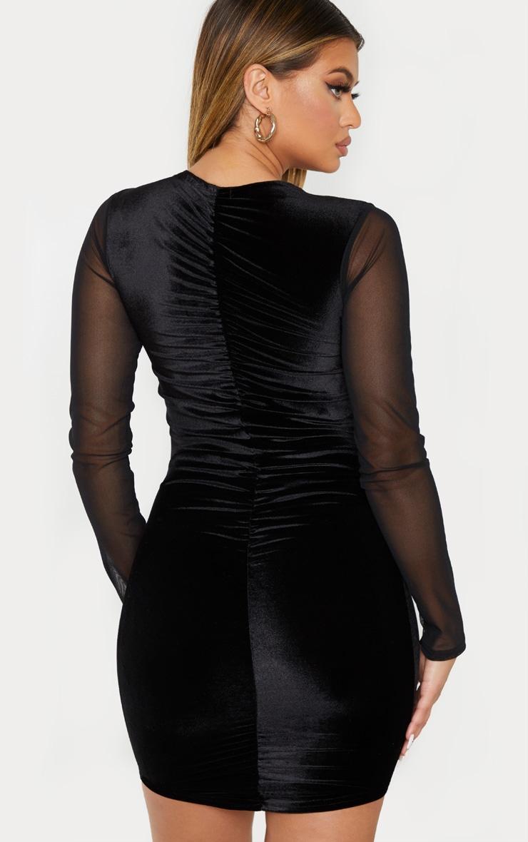Black Velvet Mesh Sleeve Tie Front Bodycon Dress 2