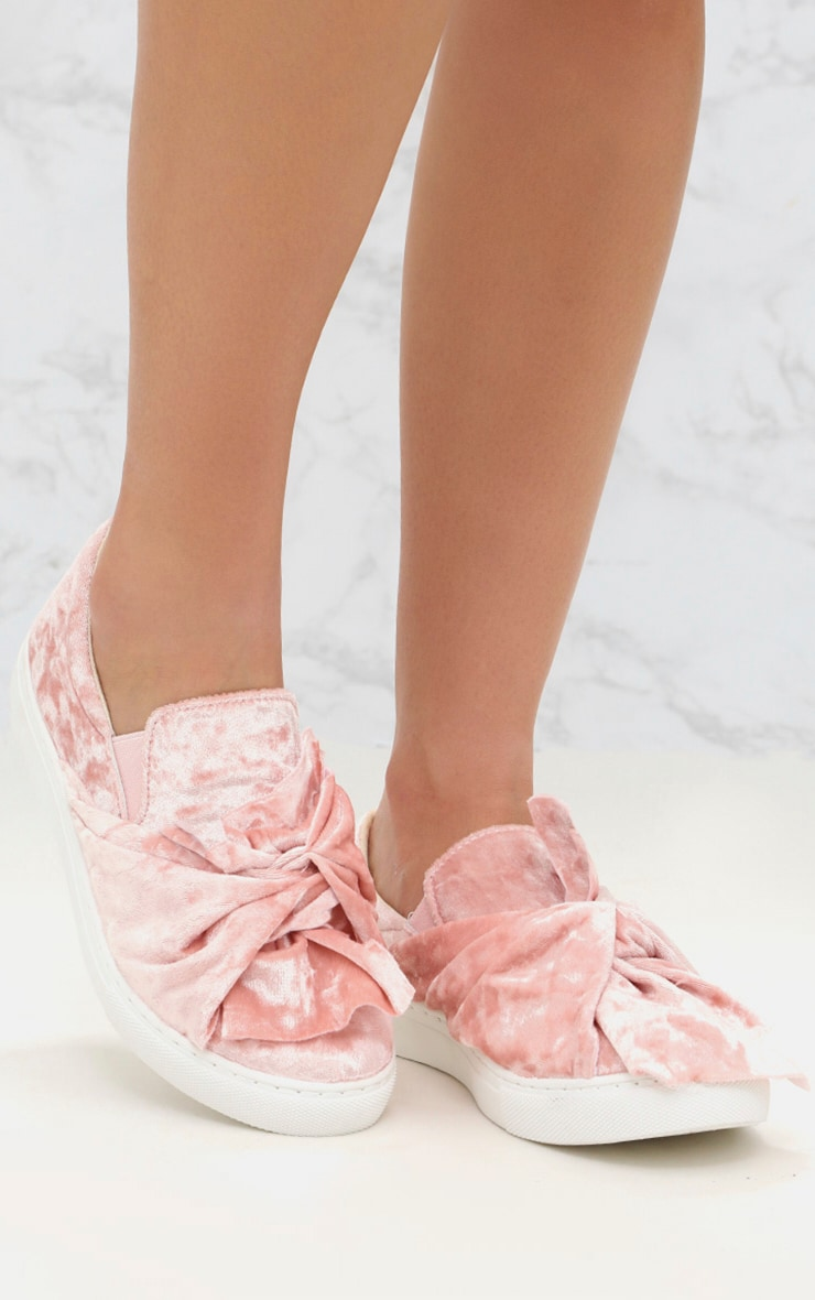 Pink Velvet Knot Bow Trainers 1