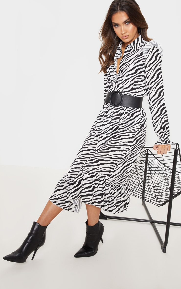 Black Zebra Print Button Front Frill Midi Shirt Dress 4