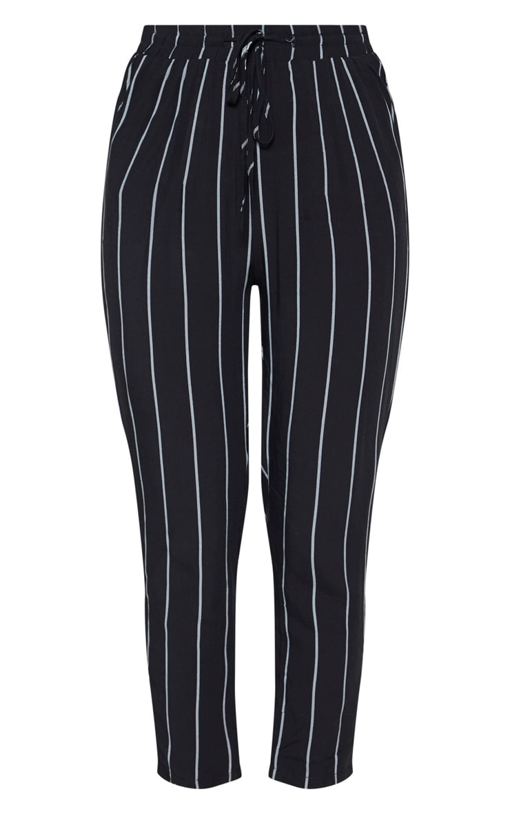 Diya Black Pin Stripe Casual Trousers 3