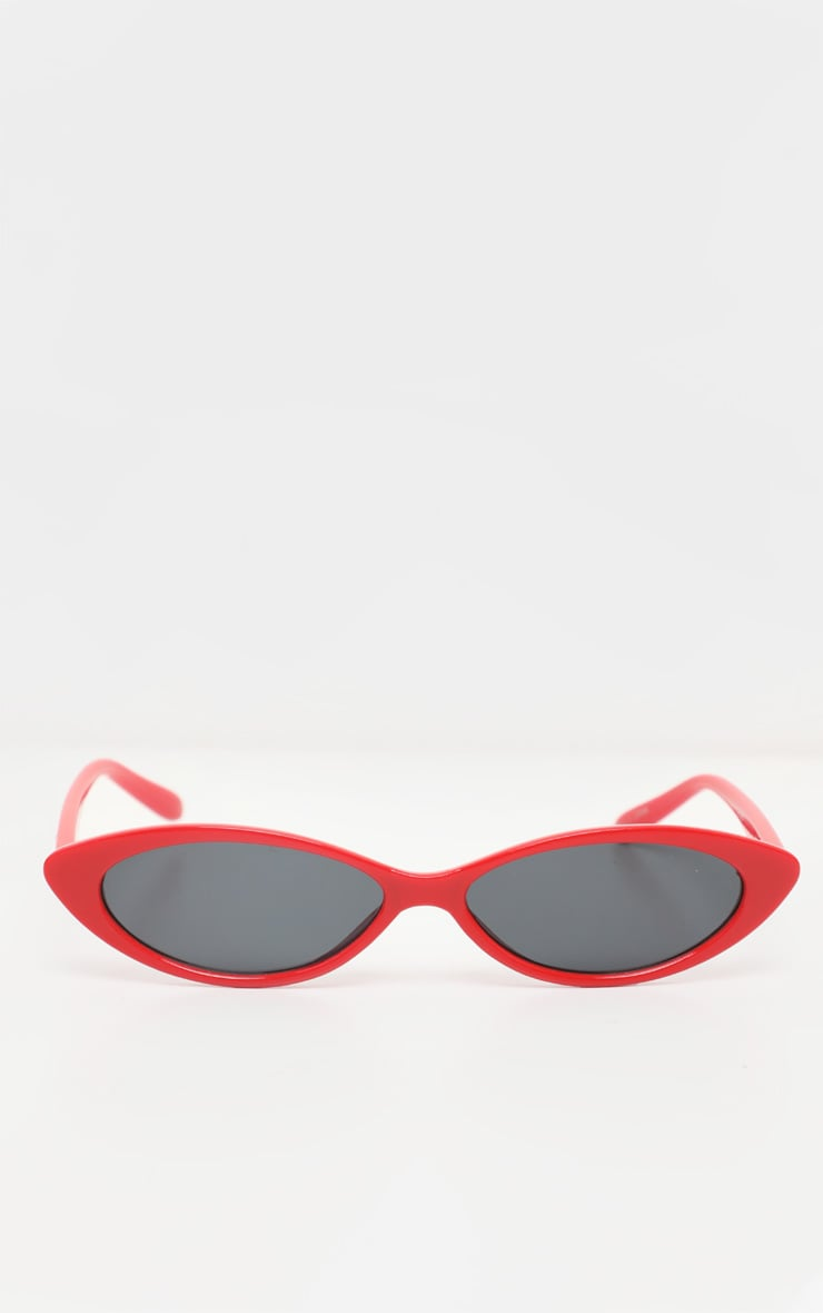 Red Super Slim Cat Eye Sunglasses 2