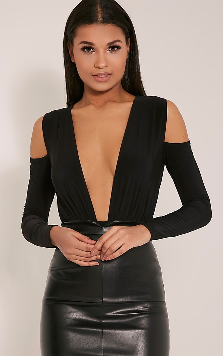 Sali Black Cold Shoulder Bodysuit 1