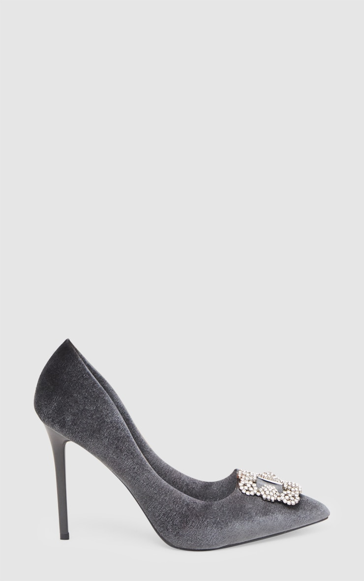 Grey Embellished Velvet Court 3