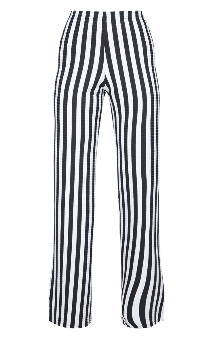 15e38cfa82 Black Rib Stripe Split Hem Wide Leg Trouser | PrettyLittleThing