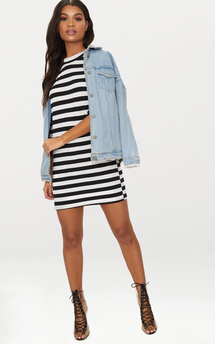 Monochrome Oversized Stripe T Shirt Dress 4