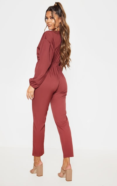 Chocolate Wrap Long Sleeve Woven Jumpsuit