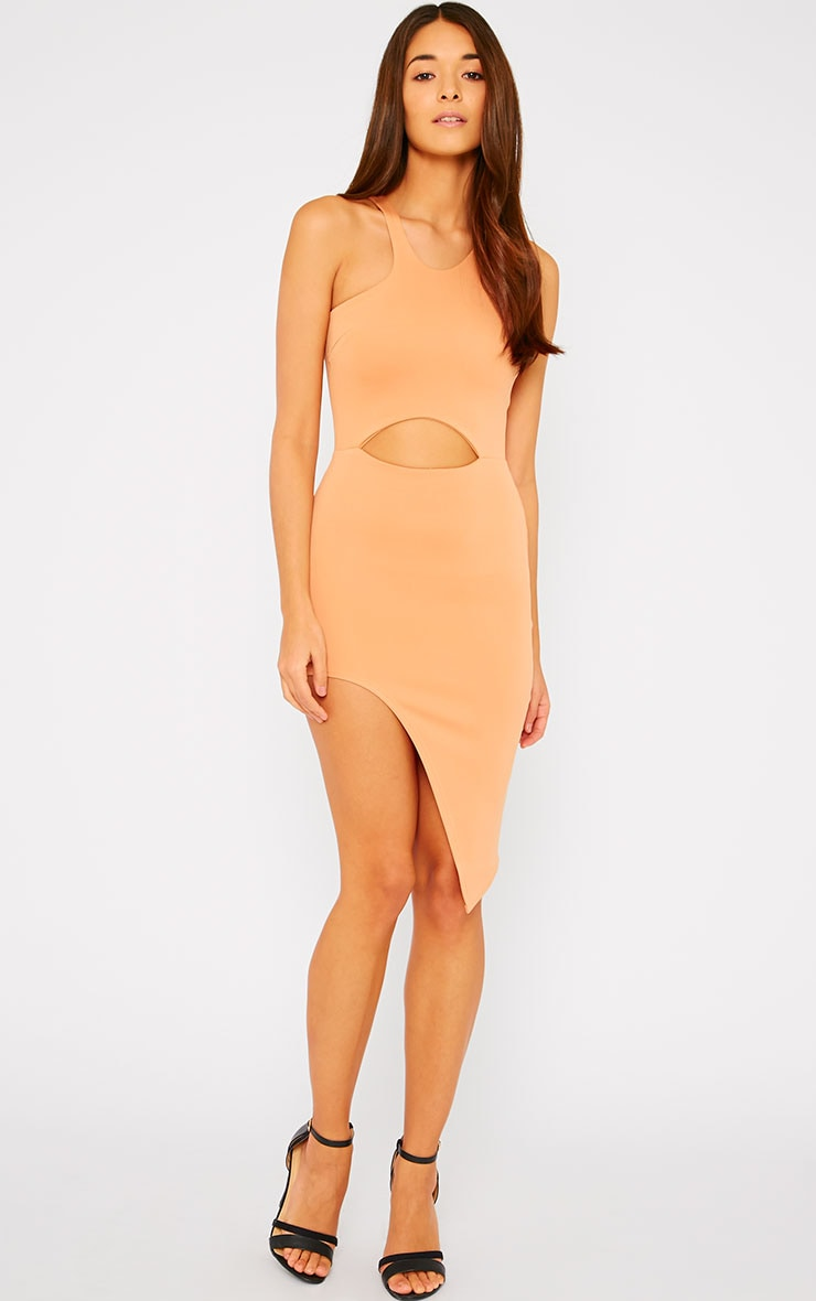 Sydney Camel Cut Out Curve Split Dress 3
