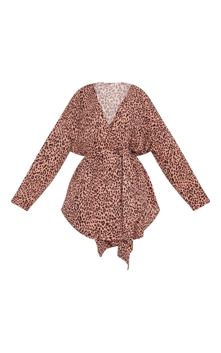 Plus Pink Leopard Woven Tie Waist Blouse 3
