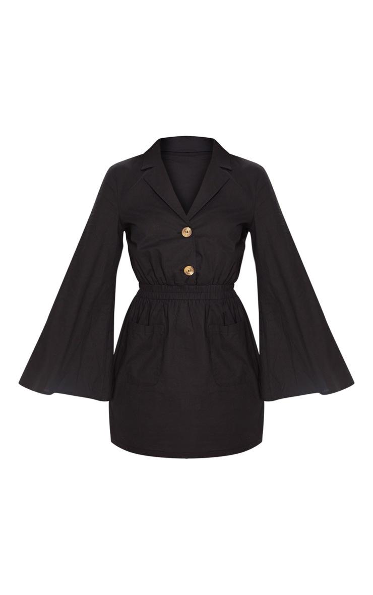 Black Button Front Elastic Waist Pocket Shirt Dress 3