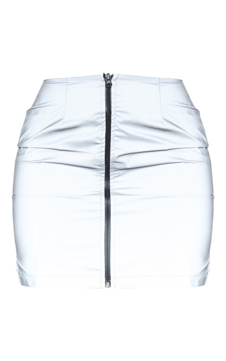 Grey Reflective Zip Up Mini Skirt 3