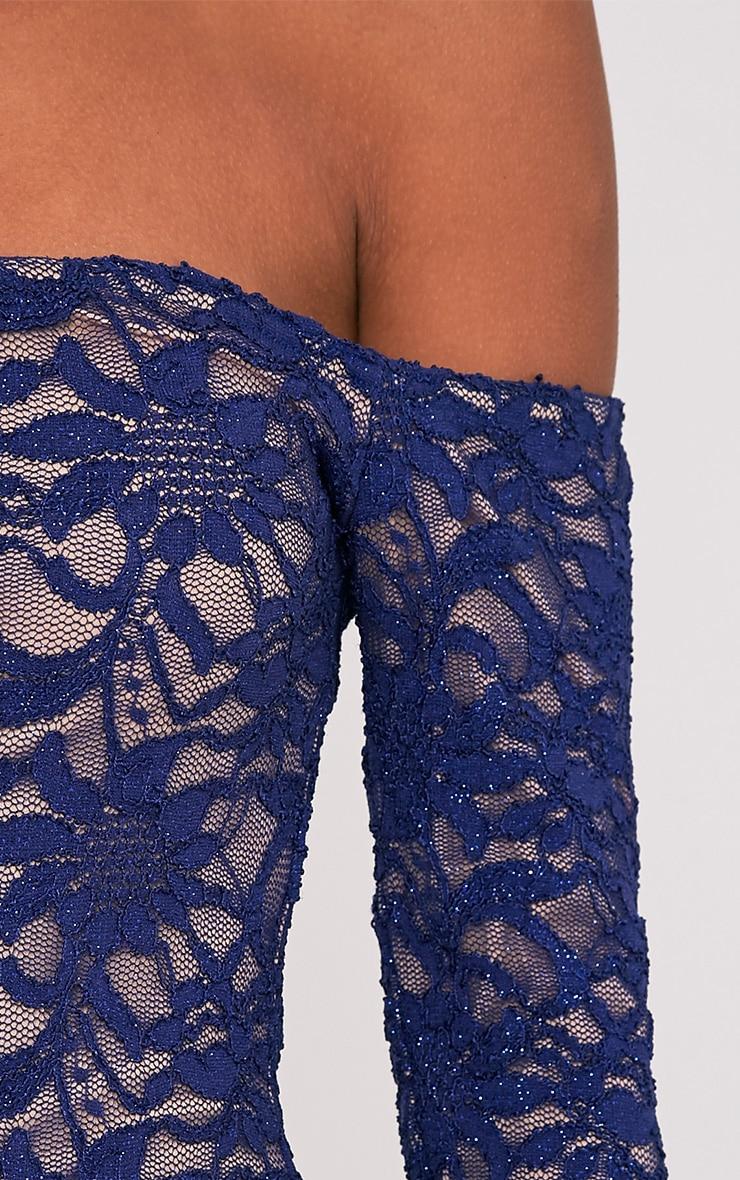 Lorinia Blue Glitter Lace Bardot Bodycon Dress 8