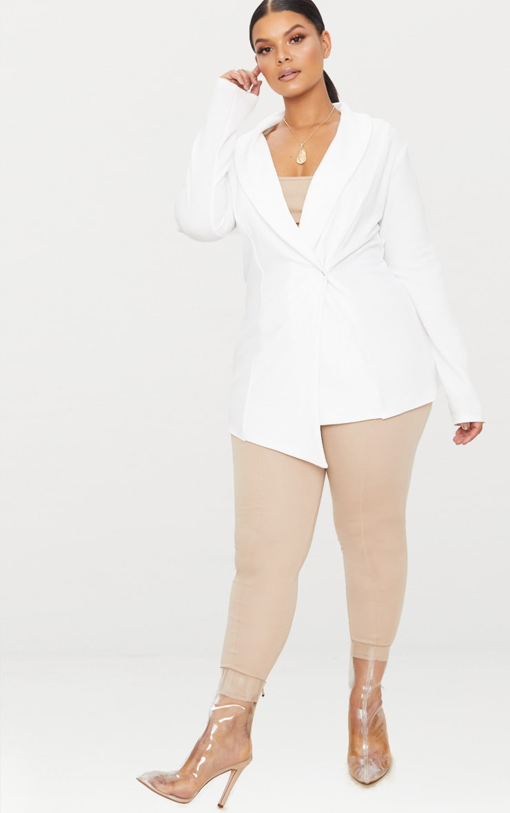 Plus White Wrap Detail Blazer 4