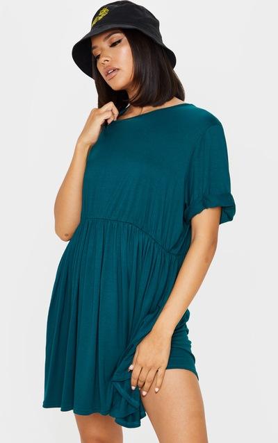 Emerald Green Jersey Oversized Smock Dress