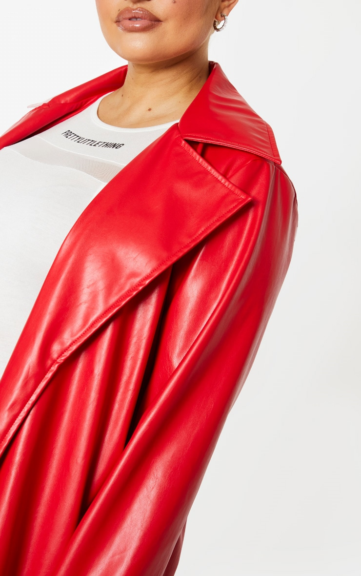 Plus Red PU Longline Trench 4