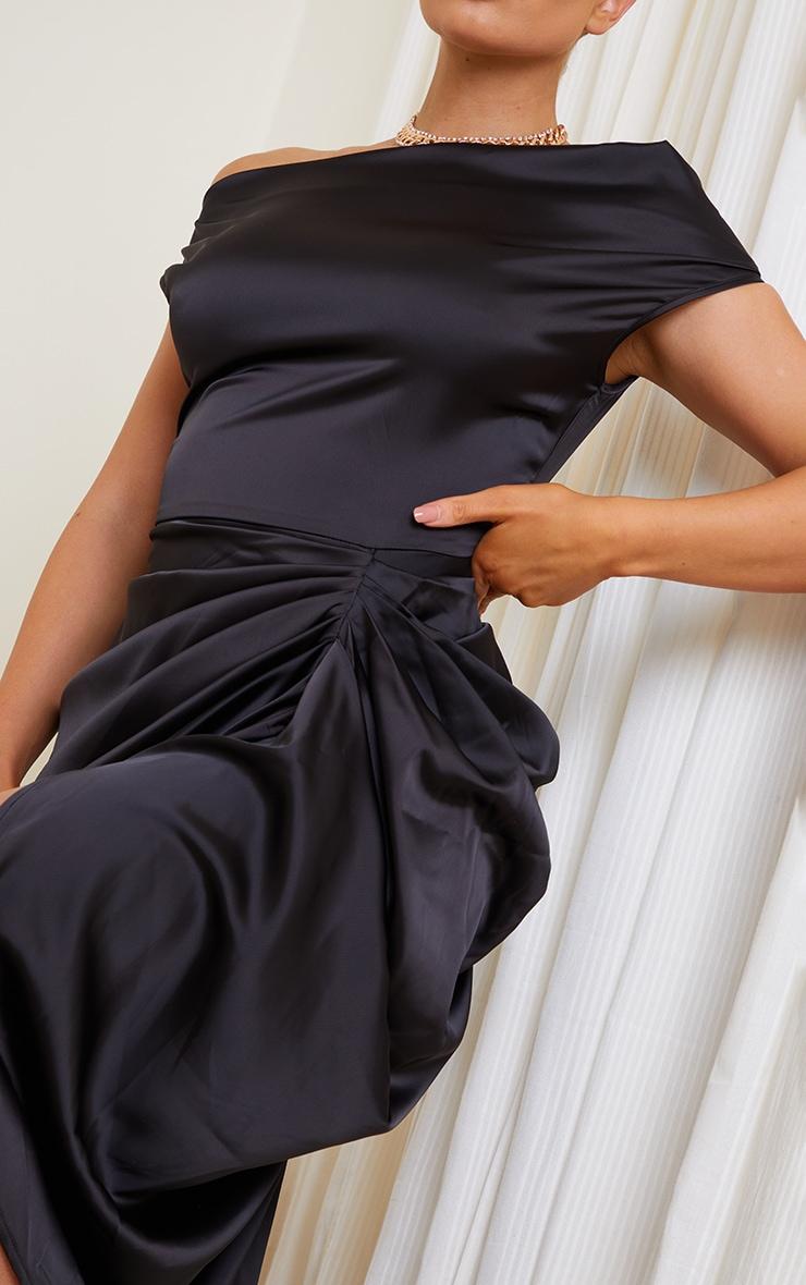Black Satin Off The Shoulder Draped Skirt Midi Dress 4