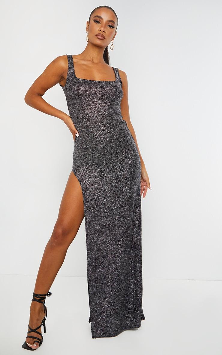 Black Glitter Split Leg Maxi Dress 1