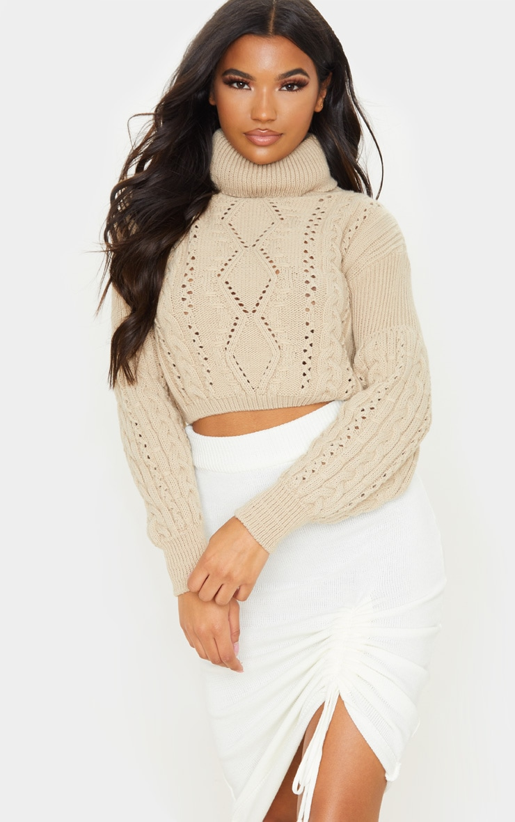 Stone Cropped Cable Knitted Jumper  1