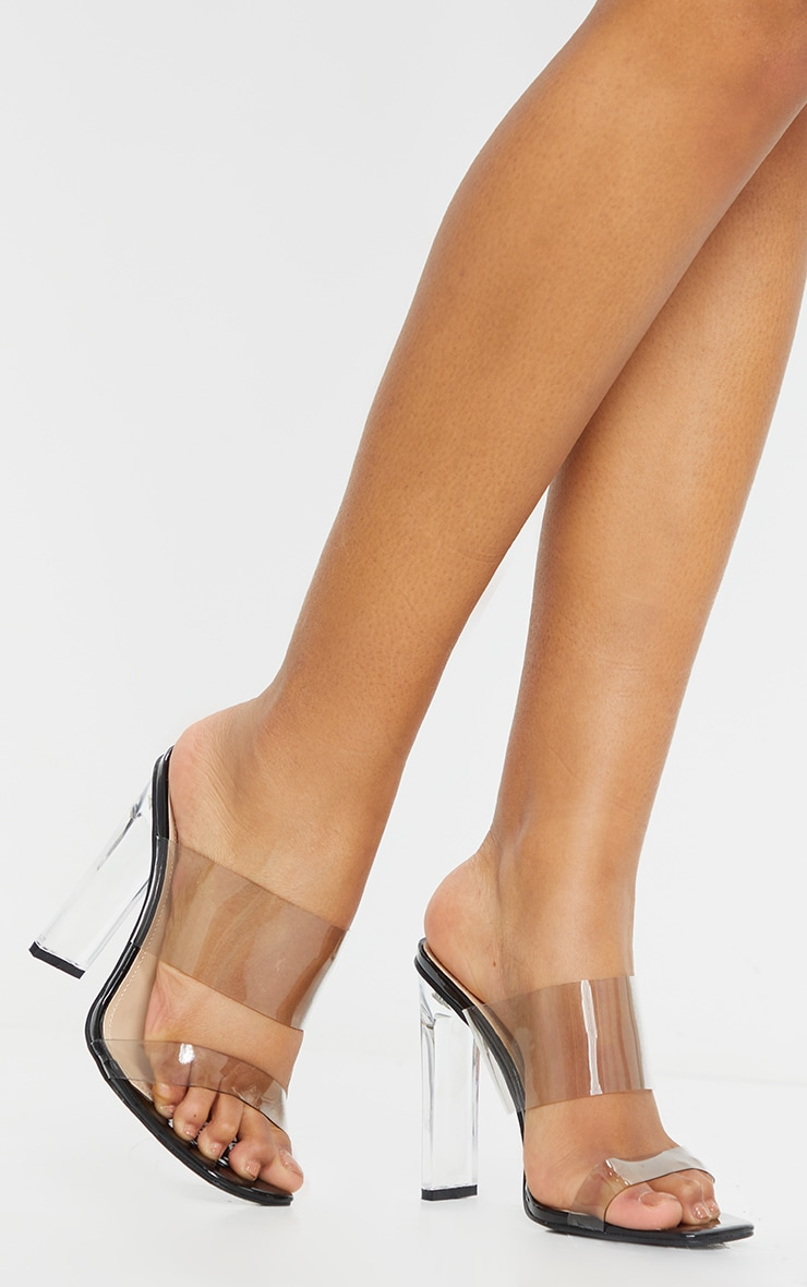 Black Wide Fit Tinted Clear Twin Strap Mule Heels 1