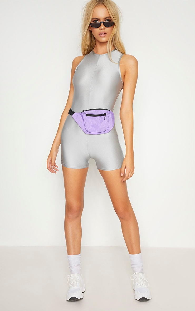 Ice Grey Disco Racer Neck Unitard 4