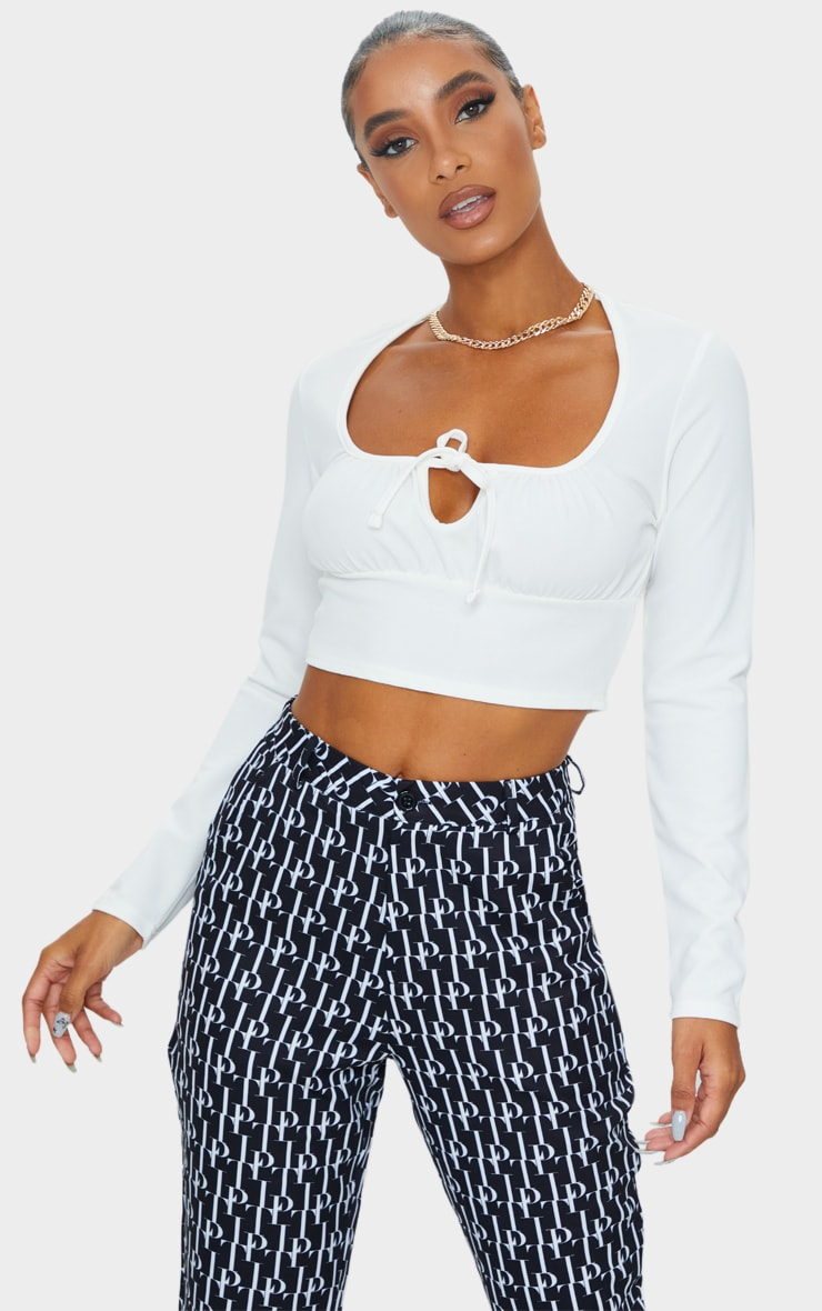White Tie Front Long Sleeve Crop Top 1
