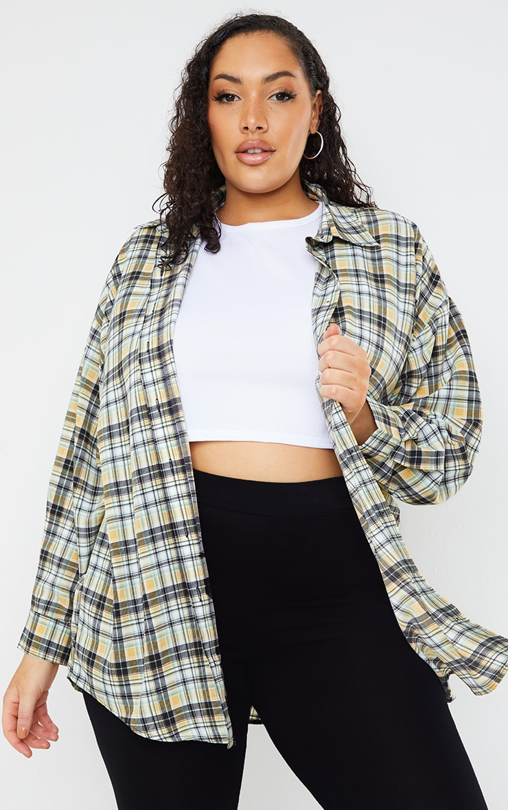 Plus White Check Batwing Shirt 1