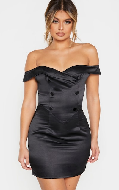 Black Satin Button Detail Bardot Bodycon Dress