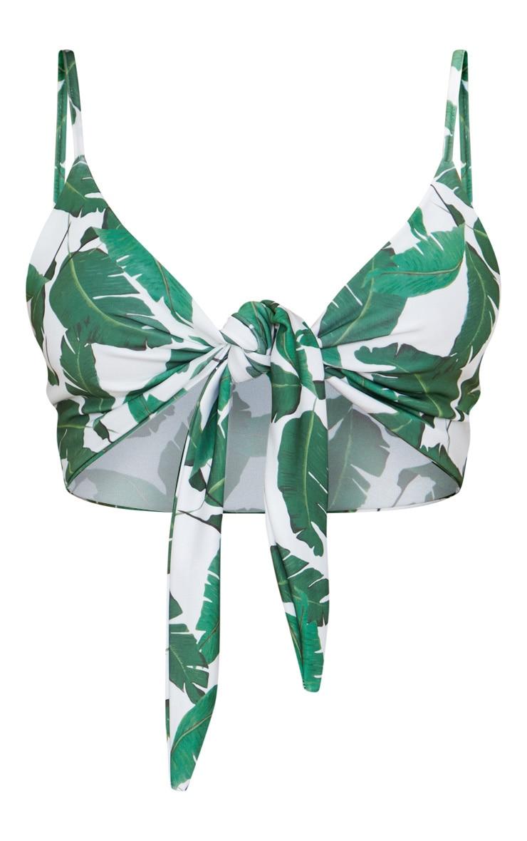 Haut de maillot de bain blanc à imprimé feuilles de bananier à nouer devant 4