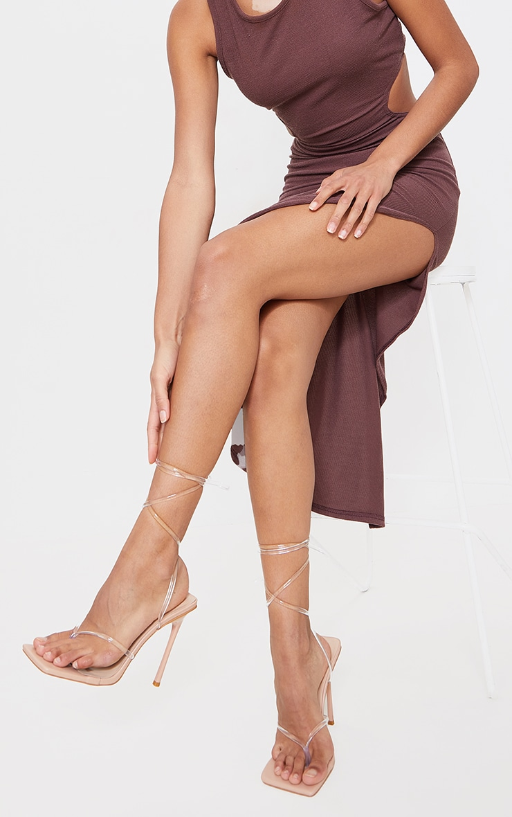 Nude Square Toe Clear Lace Up Toe Thong Heels 1
