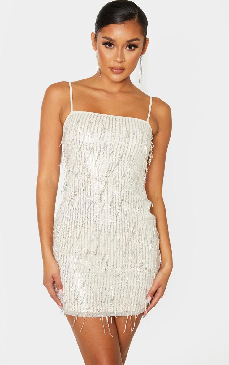 Nude Strappy Tassel Sequin Stripe Bodycon Dress 1